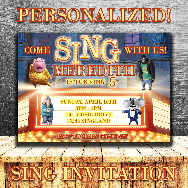 SING BIRTHDAY INVITATION,Sing Movie invite,personalized printable ...