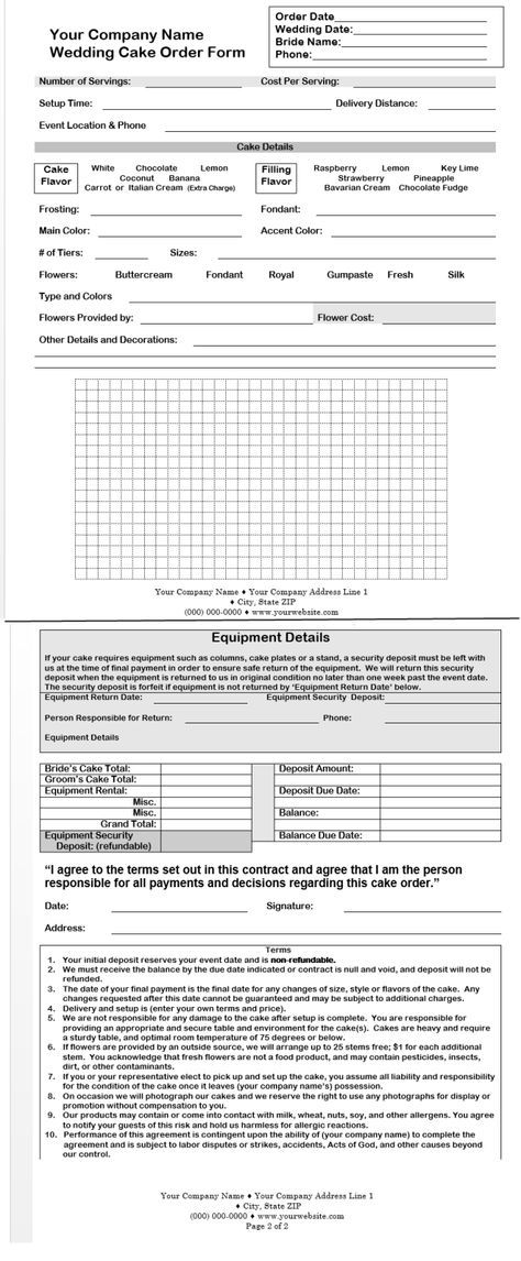 CakeBoss Free Sample Wedding Cake Contract Bakeru0027s Corner - sample cake order form template