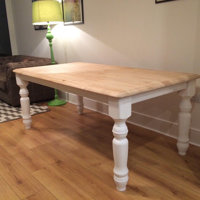 Farmhouse table pine white legs srub top Table, Dining