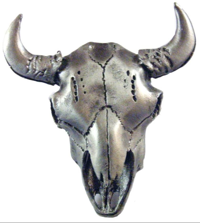 Sierra Lifestyles, Buffalo Skull Cabinet Knob  Antique Brass From Cabinet  Knobs And