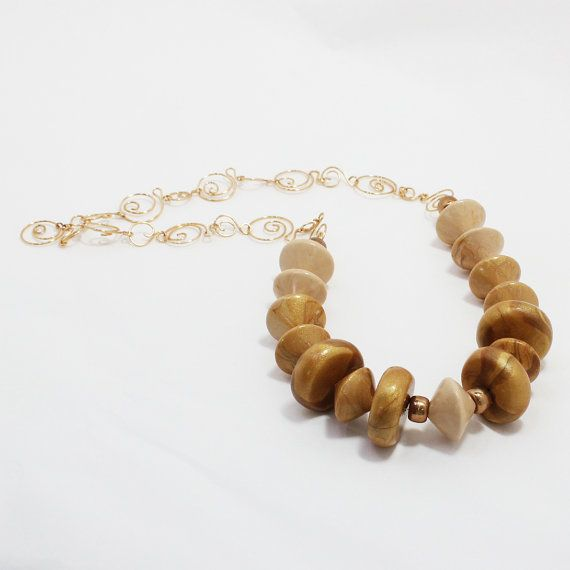 Handmade Faux wood beads handmade chain and clasp by PolyClayCafe, $45.00