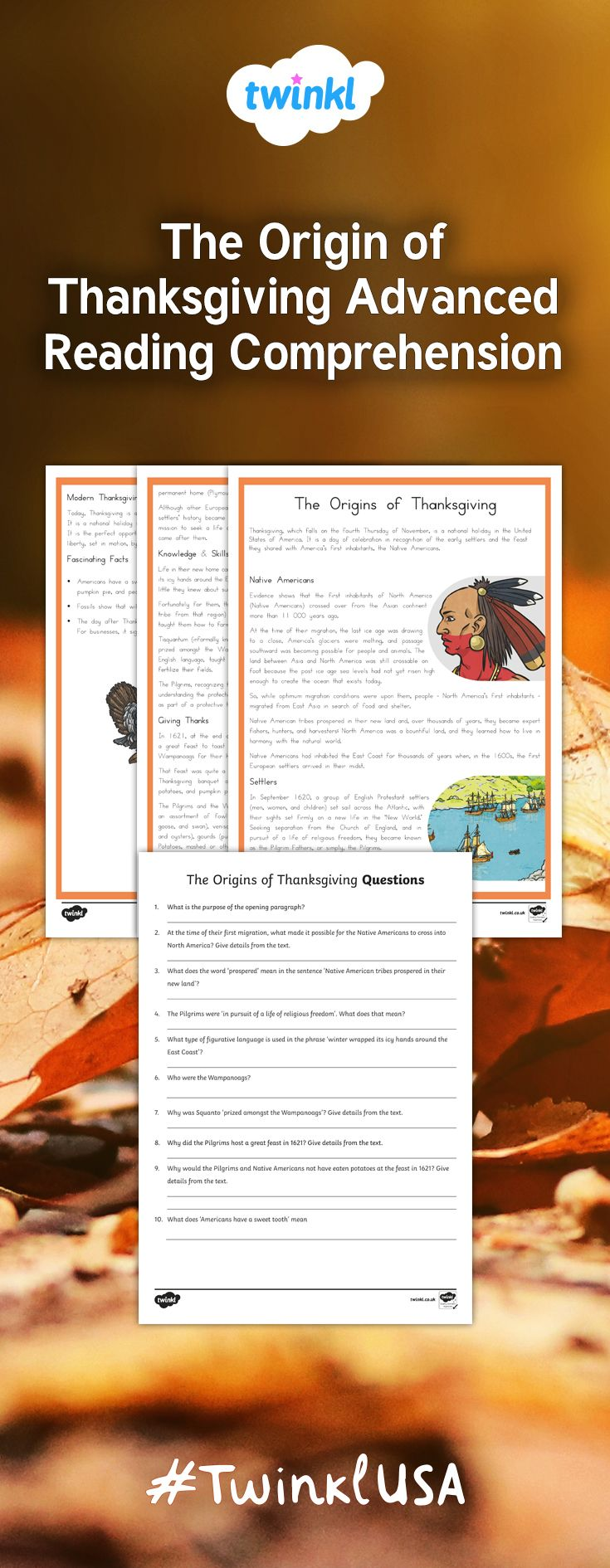 Fifth Grade The Origin Of Thanksgiving Reading Comprehension Activity Reading Comprehension Activities Thanksgiving Reading Comprehension Reading Comprehension [ 1890 x 735 Pixel ]