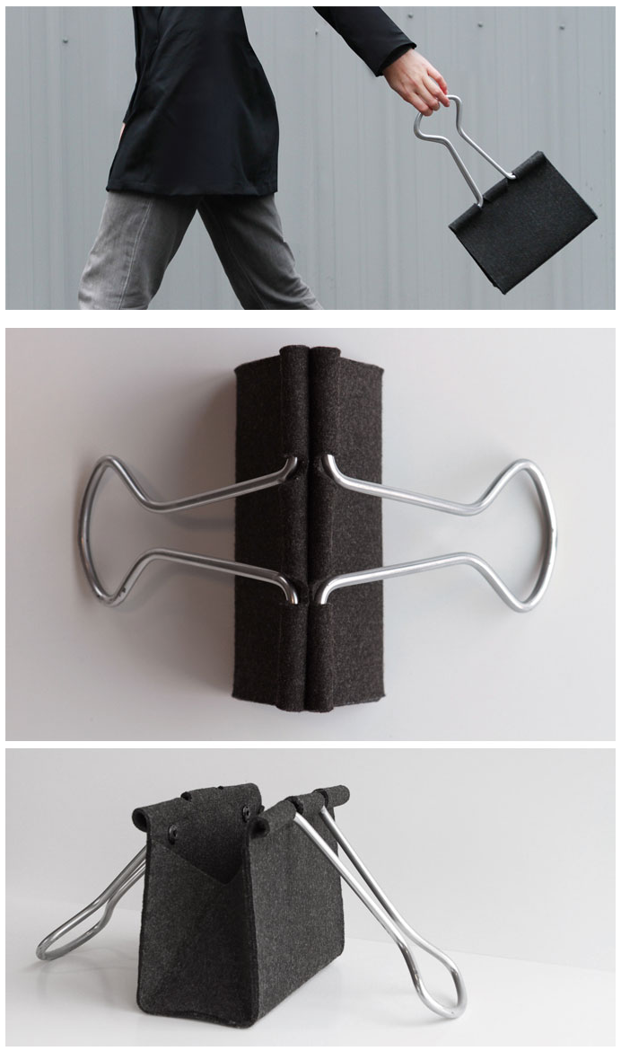 The Clip Bag by Peter Bristol borrows its form from a common binder clip. Constructed of wool felt and aluminum tubing.