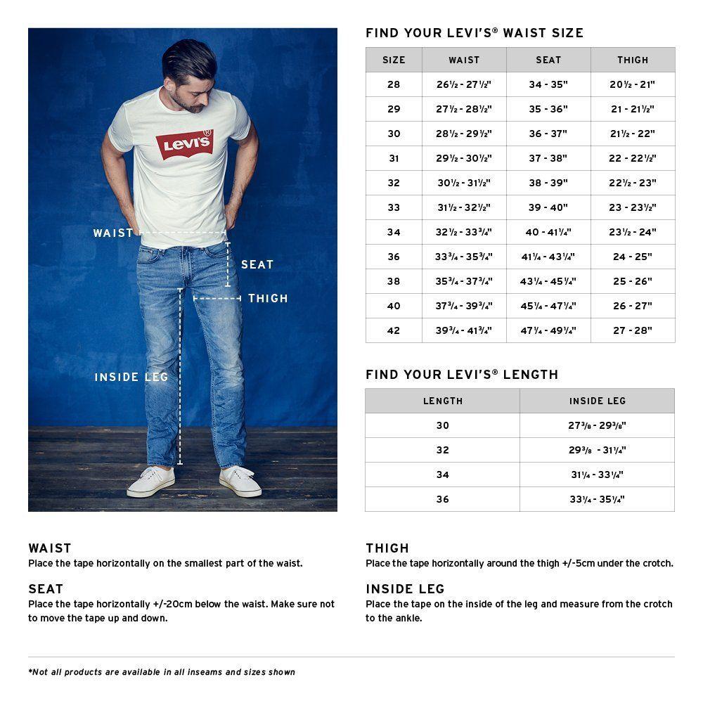 Image result for levis men jeans size chart levis shorts