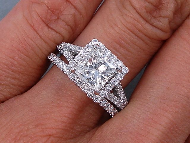 8cbe55b03 This is our alluring 2.15 ctw Princess Cut Diamond Engagement Ring and Matching  Wedding Band Set. It has a glittering 1.51 ct Princess Cut H Color/SI1 ...