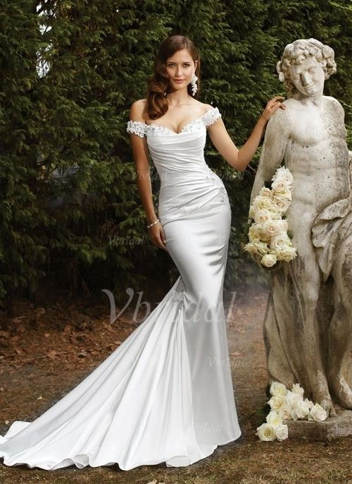 Wedding Dresses - $189.98 - Trumpet/Mermaid Off-the-Shoulder Chapel Train Charmeuse Wedding Dress With Ruffle Beading Appliques Lace (00205003579)