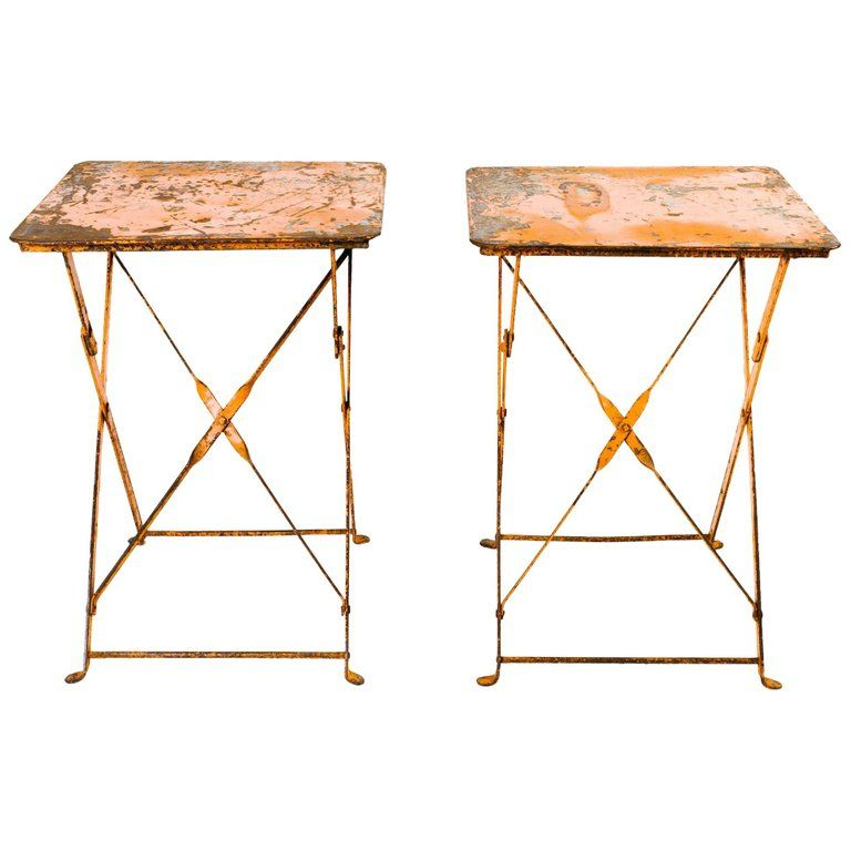 Pair of Antique French Garden Bistro Folding Tables #frenchindustrial