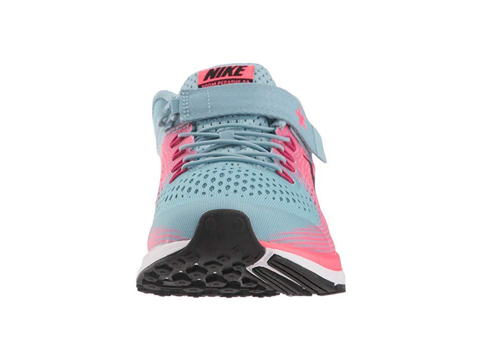 4a798ec7b410 Nike Kids Zoom Pegasus 34 FlyEase WIDE (Little Kid Big Kid) Girls Shoes Mica  Blue Black Racer Pink Sport Fuchsia