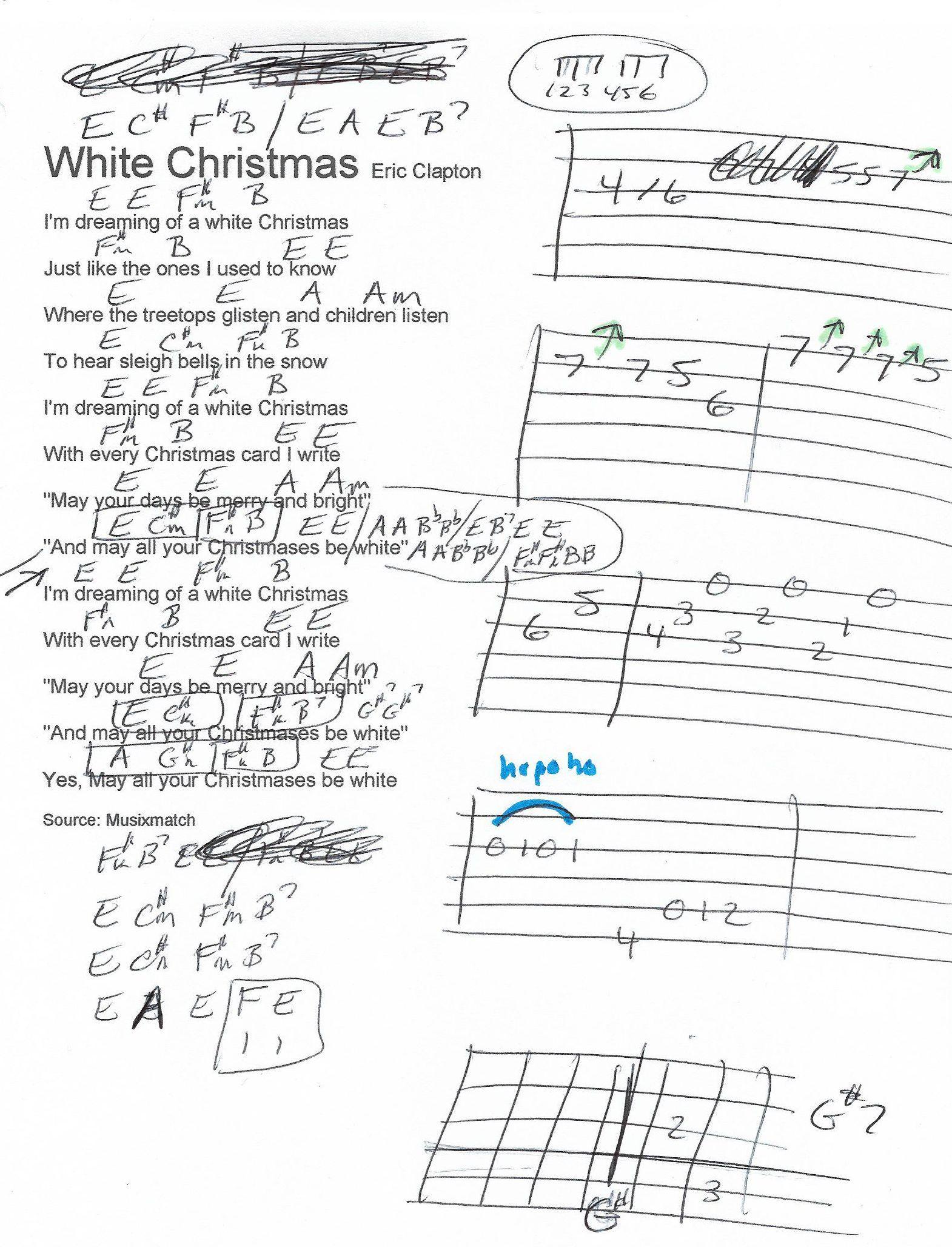 White Christmas (Eric Clapton) Guitar Chord Chart Guitar
