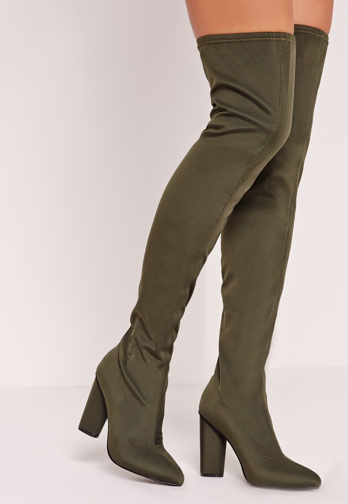 8f2ac212527 Missguided - Pointed Toe Neoprene Over The Knee Boot Khaki