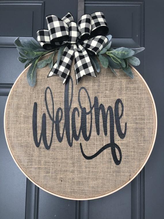 Photo of Christmas Wreath for Front Door, Buffalo Check, Wreaths for front door, Fall Wreaths for Fron …