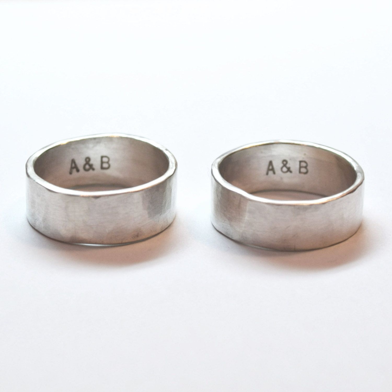 gay wedding bands Silver Hammered Men s Ring Wedding Bands With short Inscription Handmade Silver Men s Ring Gay