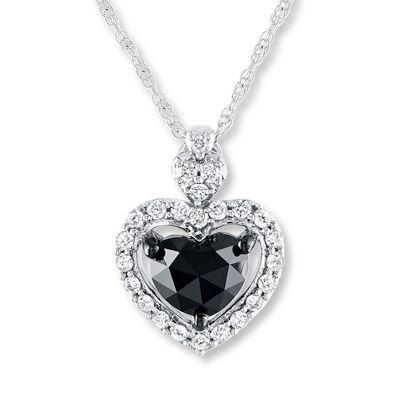 17c49c815 Kay Jewelers Black Diamond Necklace 1 ct tw Heart-shaped 10K White Gold-  Artistry Diamonds?