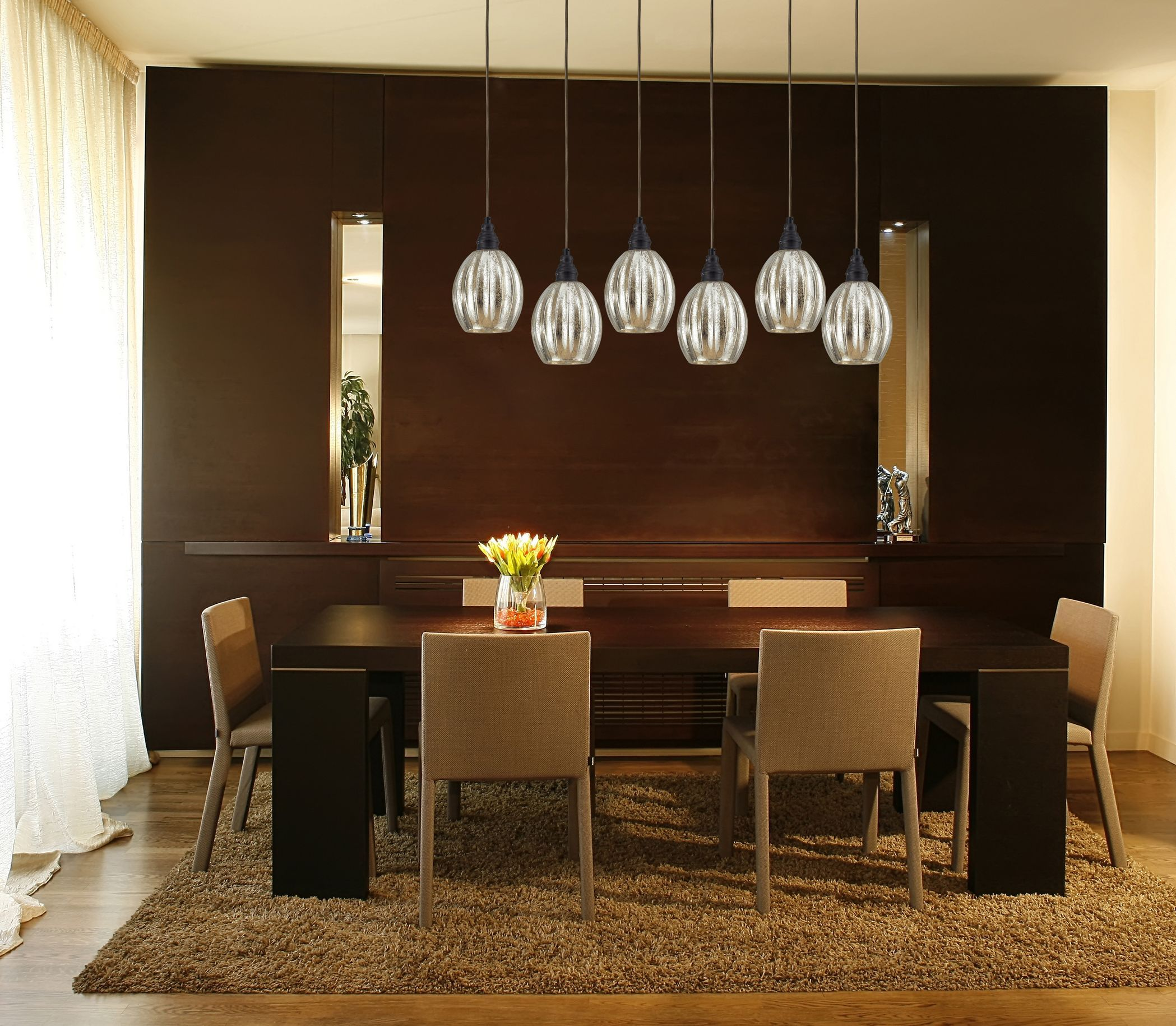 Hgtv Home Cassandra Blown Glass Mini Pendant Modern: Elk Lighting Danica 6-Light Pendant In Oiled Bronze
