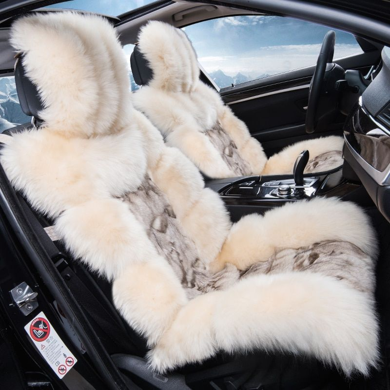 Low Profile Luxury Long Sheep Fur Car Seat Cover Cushion Full Wool