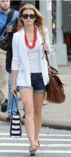 Who made AnnaLynne McCord's white blazer, orange flat shoes, black sunglasses and brown handbag that she wore in New York on May 19, 2011? Sunglasses – Ray Ban  Purse – Miu Miu  Shoes – Topshop  Jacket – Alice + Olivia