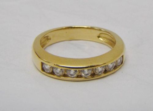 Gold Over 925 Sterling Silver Ring Wedding Band 7 Round Cubic Zirconia Size 6 5 | eBay
