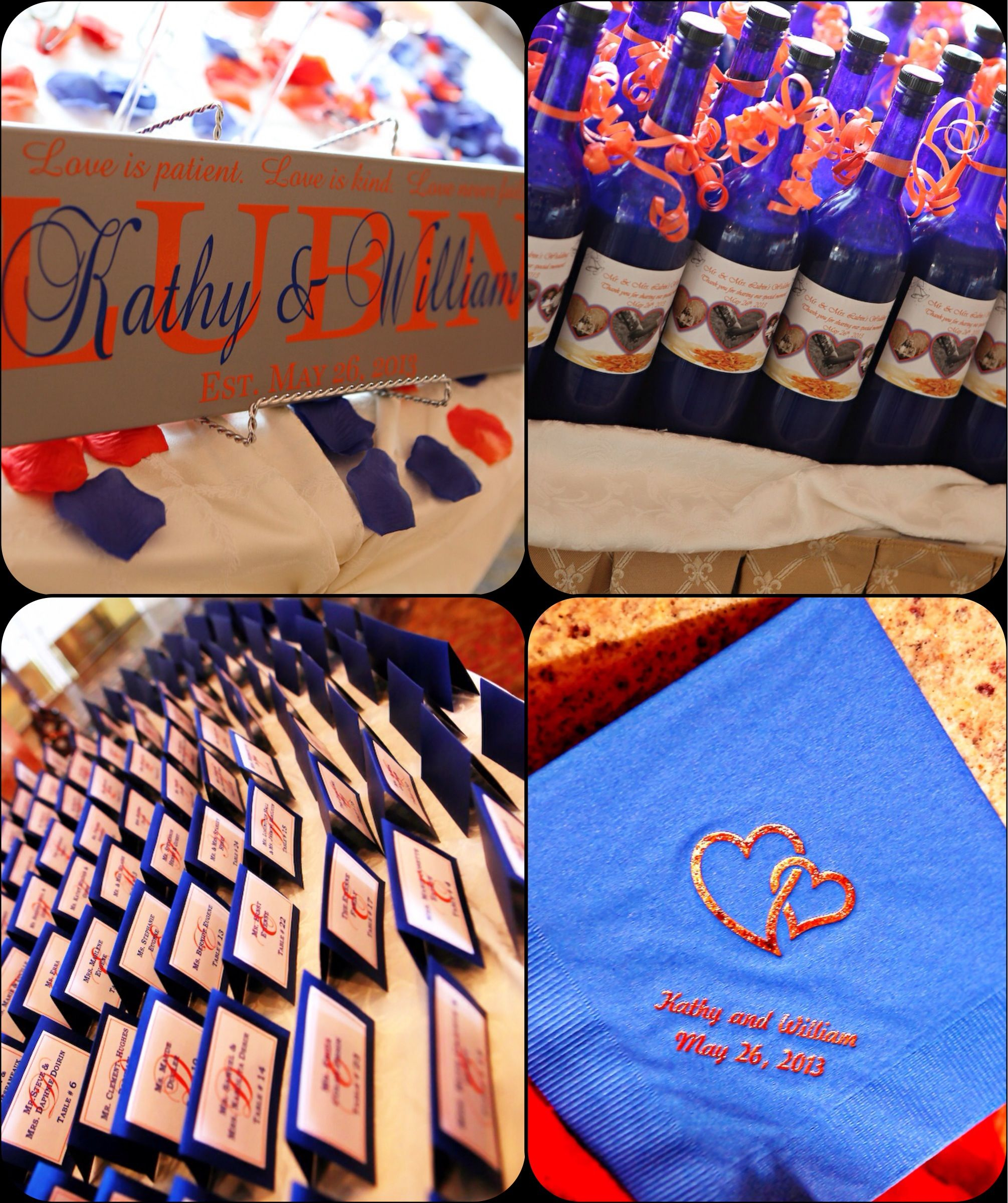 Sapphire Blue / Royal Blue And Coral Themed Wedding
