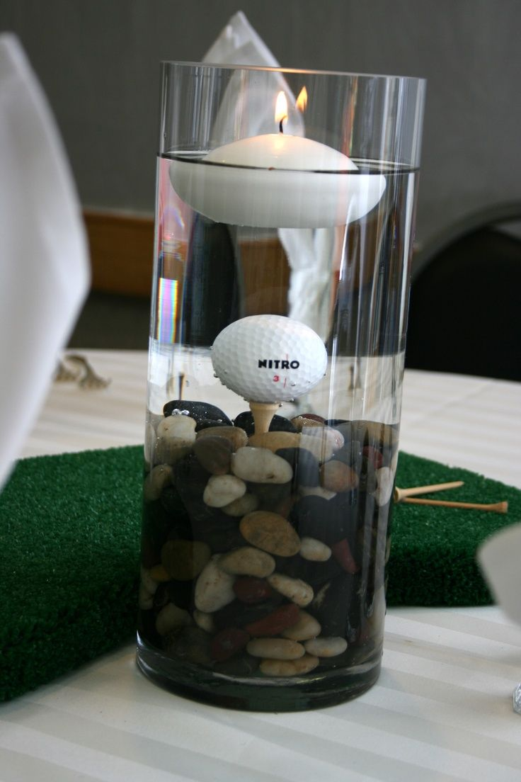 Golf ball centerpiece with floating candle golf ideas for Golf centerpiece ideas