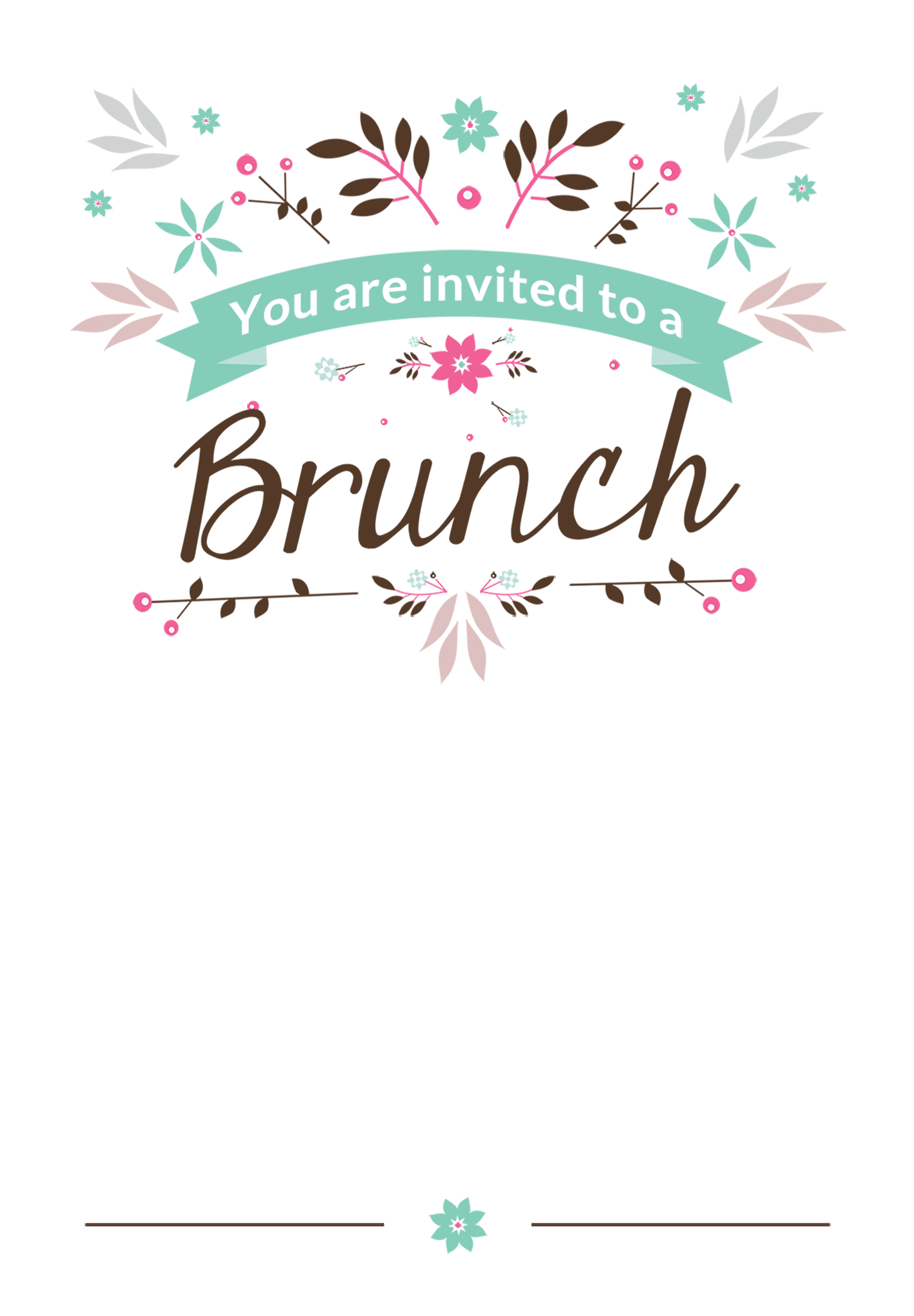 Flat Floral Free Brunch Lunch Invitation Template Greet Graduation Invitations Template Free Birthday Invitation Templates Printable Birthday Invitations