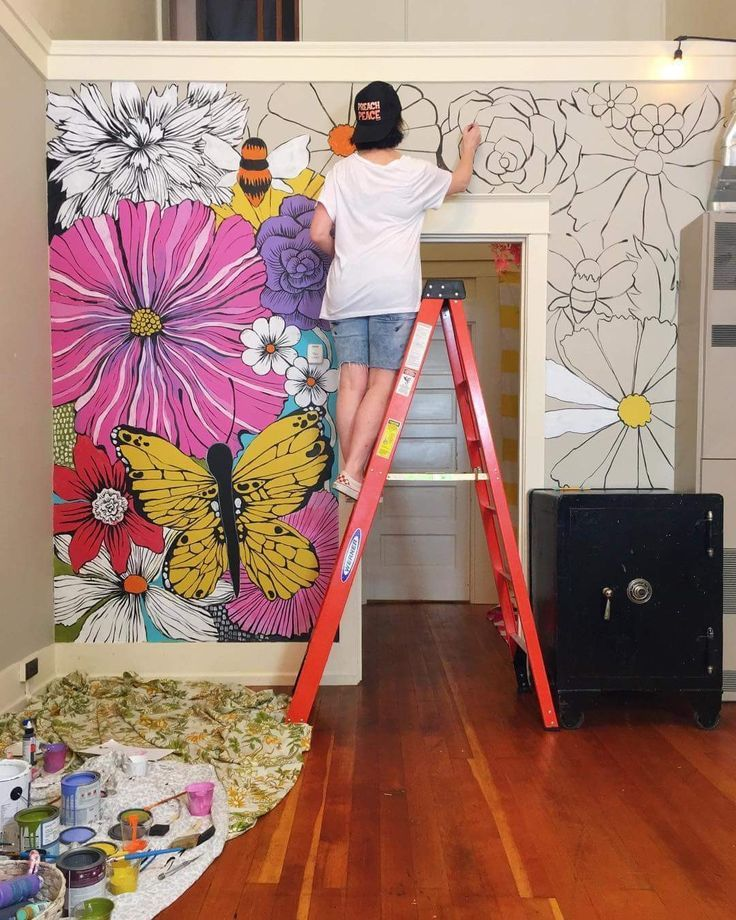 , diy flower floral accent wall painting, Family Blog 2020, Family Blog 2020