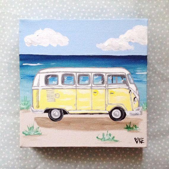 Vw Beetle Surf Art Beach Art 8 X 8 Original Painting Retro Artwork Roadtrip Mini Canvas Art Surf Painting Retro Artwork