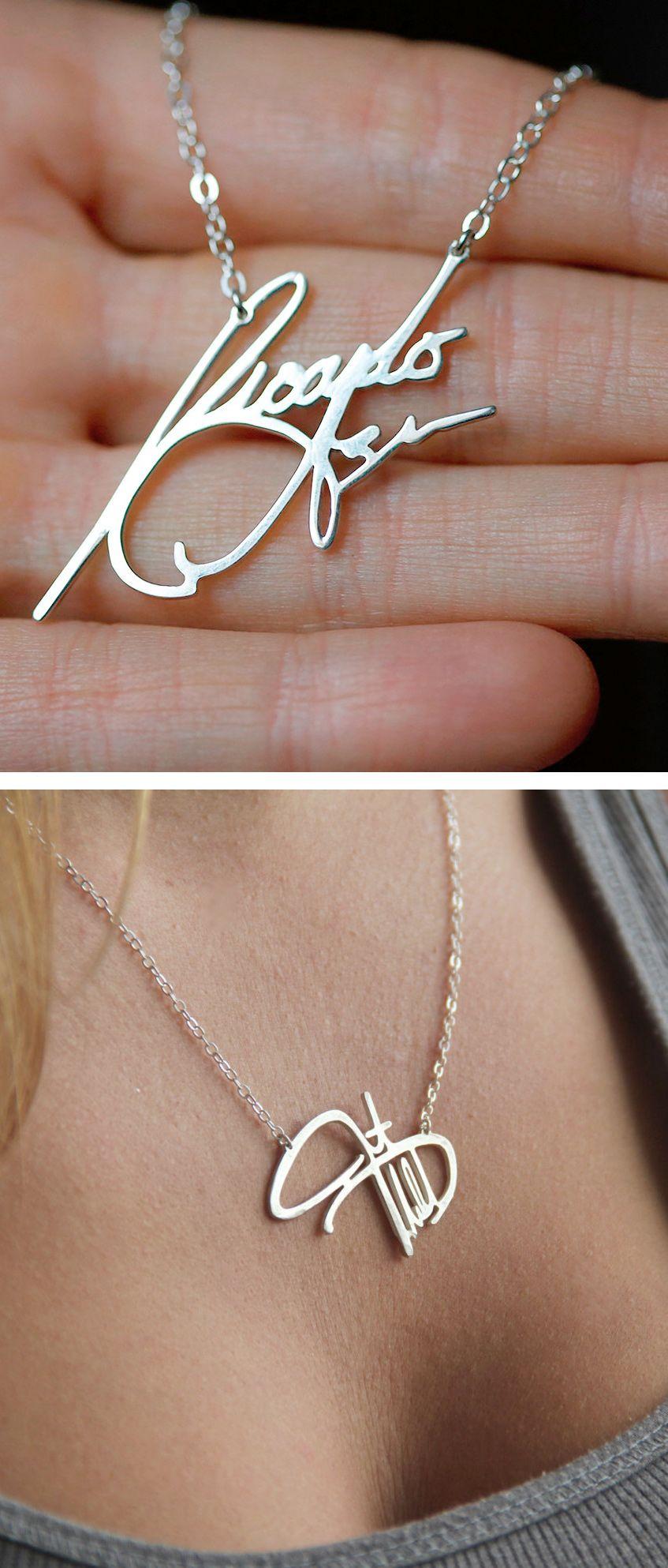 Memorial Necklace Personal Signature Necklace Silver