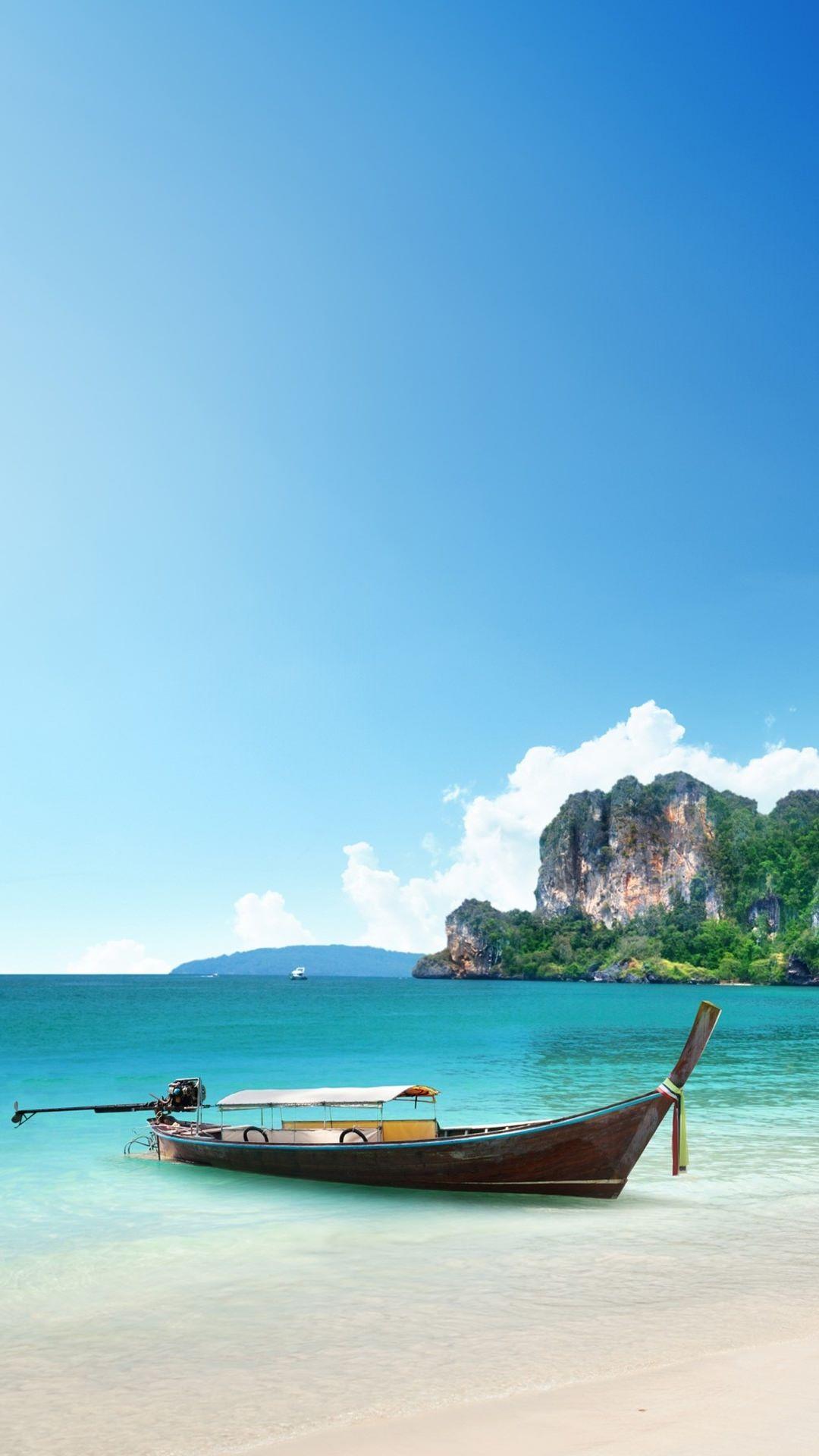 海と木の船 iPhone6 Plus 壁紙 ビーチの壁紙, 風景の壁紙, Iphone 壁紙