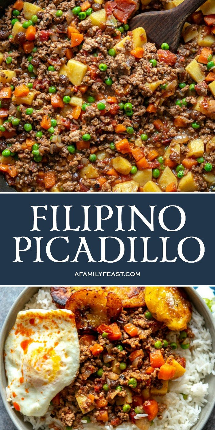 Filipino Picadillo Is A Delicious One Skillet Dinner Made With Ground Beef Potatoes Raisins And Veget Beef Recipes Easy Beef Dinner Ground Beef And Potatoes