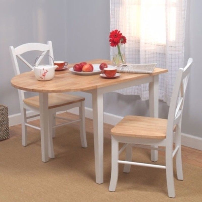 Details About Simple Living Country Cottage Drop Leaf 3 Piece Dining Set  White And Natural