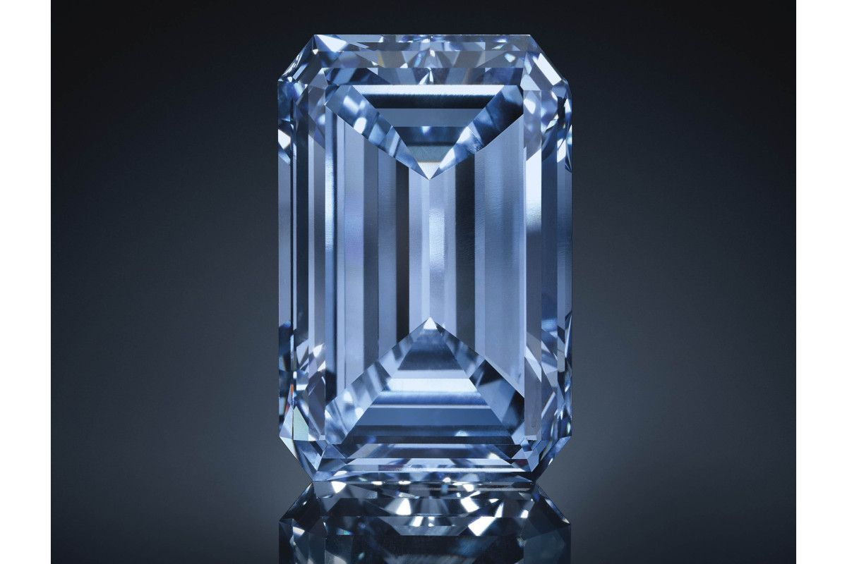 "The ""Oppenheimer Blue"", a 14.62-carat emerald-cut Fancy Vivid Blue diamond, the largest Fancy Vivid Blue diamond ever to come to auction. Estimate: $38-45 million."