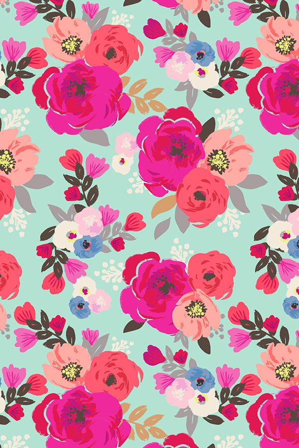 Hand Painted Sweet Pea Floral Aqua Design By Crystal Walen Spoonflower With Organic And Eco Options
