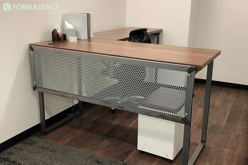 Weldmarx Iv With Perforated Steel Modesty Panel Formaspace Office Walnut L Shaped Left Desk With Matte Clear Frame Steel Modes Paneling Walnut Desks Desk
