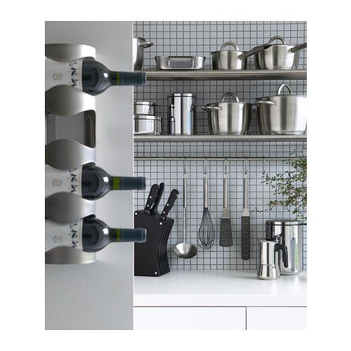 vurm halter f r 4 flaschen ikea kann an die wand geh ngt oder liegend eingesetzt werden k che. Black Bedroom Furniture Sets. Home Design Ideas