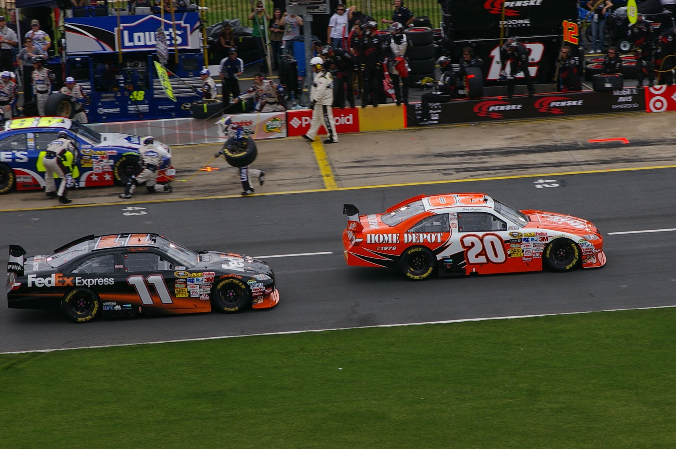 2009 Coca Cola 600 At Lowe S Motor Sdway Denny Hamlin 11 Fedex Joey Logano 20 Home Depot Nascar Nascarthrowback Cc Licensed Photo By Tequila Mike