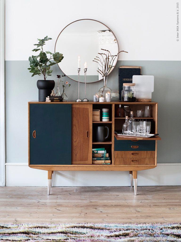 la folie des miroirs ronds wundersch n wandfarbe grau und m bel. Black Bedroom Furniture Sets. Home Design Ideas