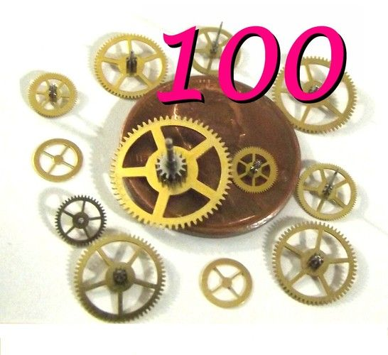 ♥ ♥ ♥100 Watch GEARS ♥ ♥ ♥  Vintage Aged, Unused. 5mm to 12mm in size. ♥ ♥ ♥  Starts at $20.  Go to cheapboutique.etsy.com for instant buy, non-auction sales.  CLEAN as a whistle, the source was a watch repair supply company which closed a few years back!  These supplies are great for jewellery, altered art, resin casting, card making, etc.! You can make amazing works of STEAMPUNK art.
