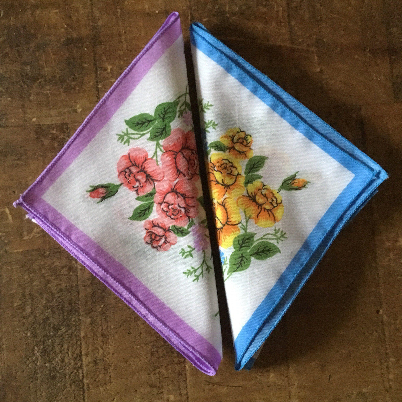 Vintage 1970s Printed Cotton Handkerchiefs Pair Floral Design 2 Ladies Pocket Hankies Choose Your Colours Retro Kitsch Accessories