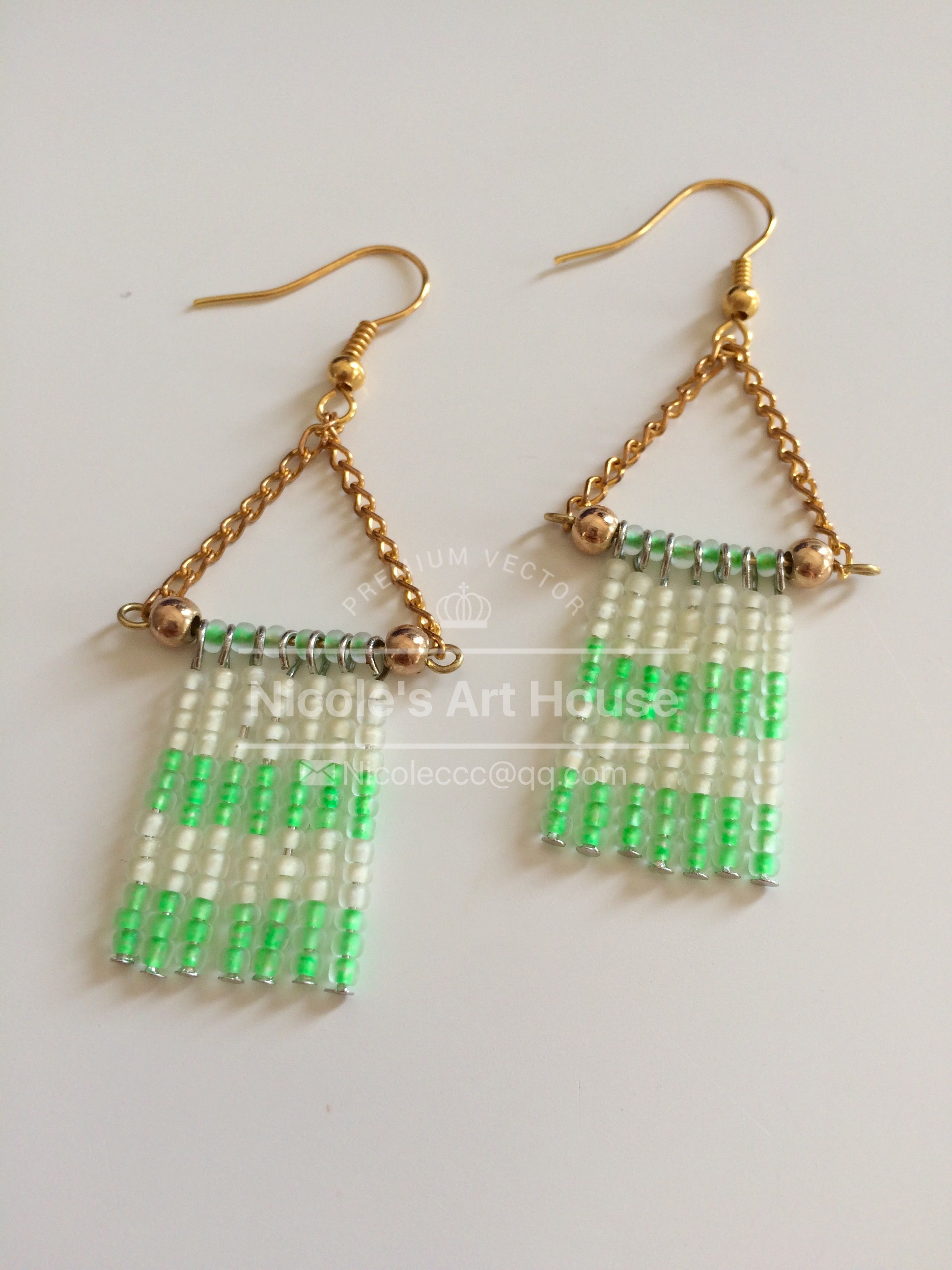 earrings green square stud greens handmade jewellery