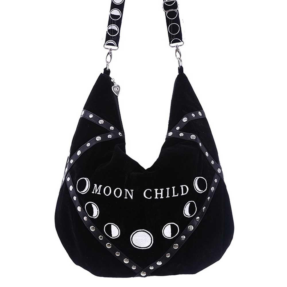 Moon Child hobo schoudertas met maan print en studs zwart - Gothic Occult cf5b9ebf936db