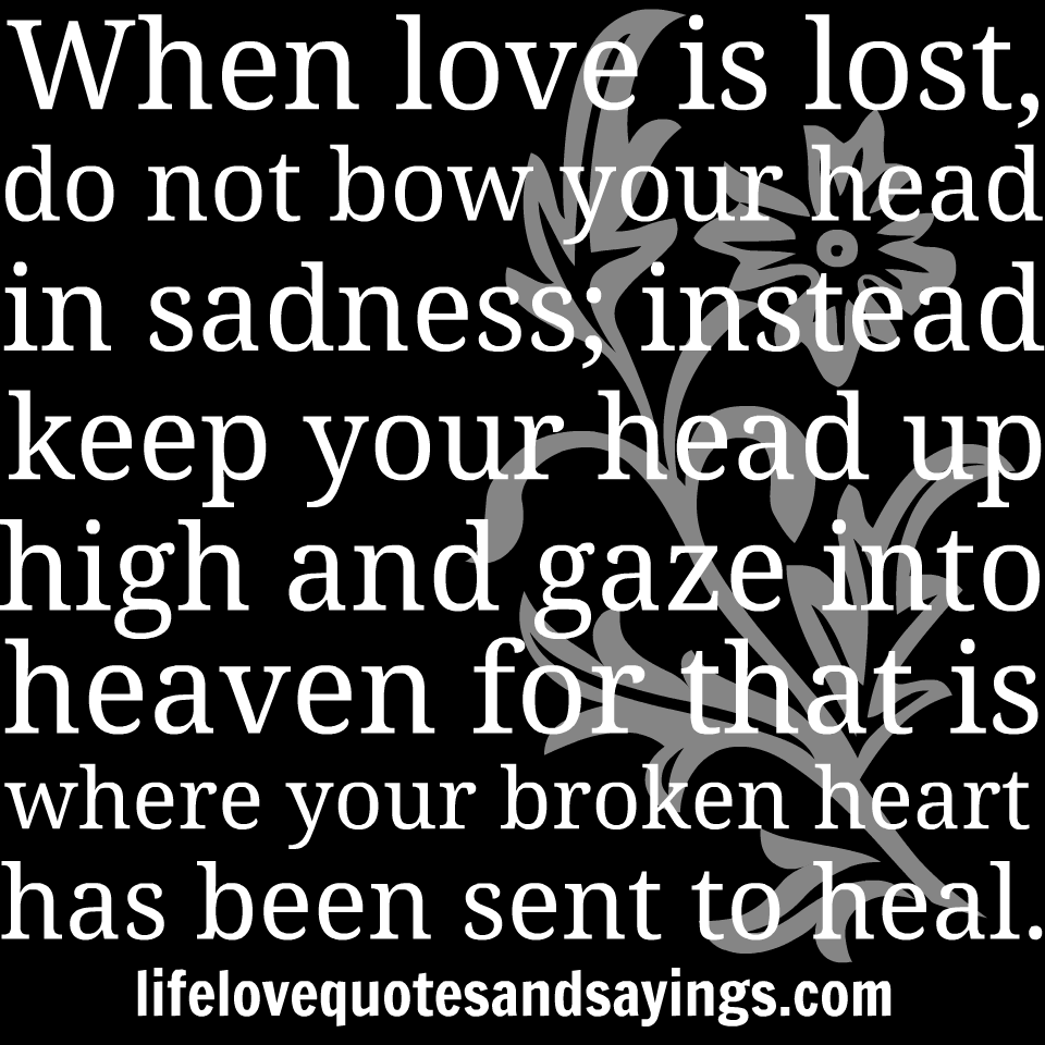 """"""" When Love Is Lost, Do Not Bow Your Head In Sadness"""