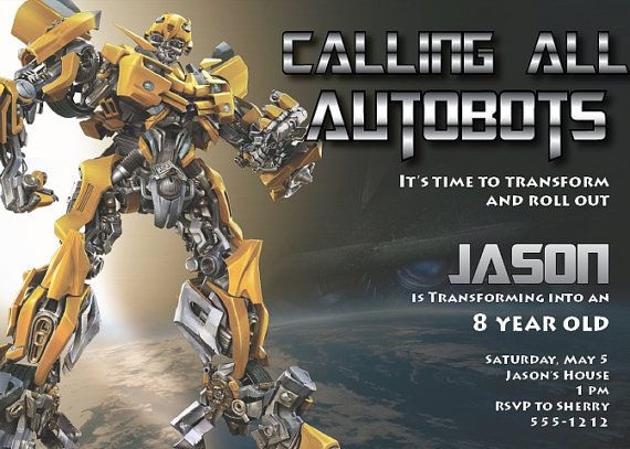 transformers birthday invitation high
