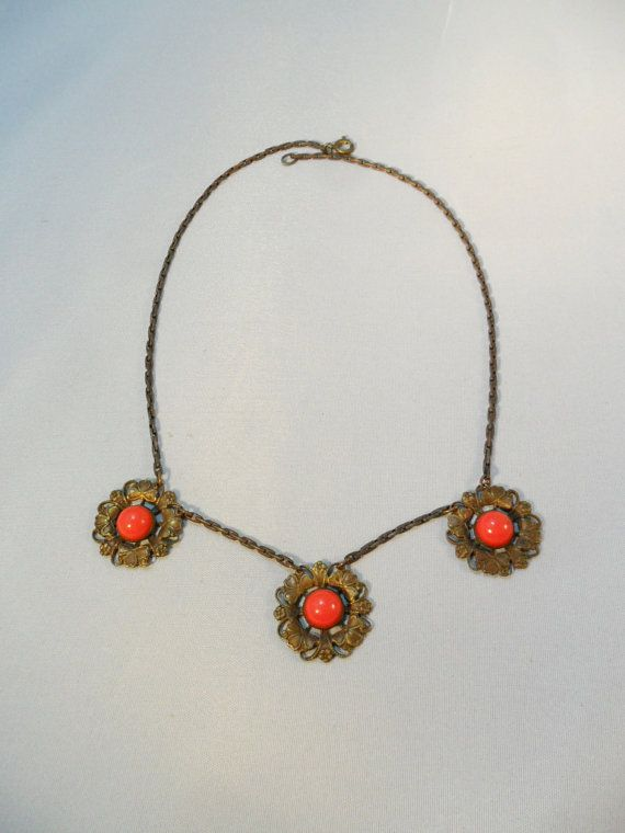Vintage Necklace / Choker / Collar Art Nouveau by KathiJanes, $47.95