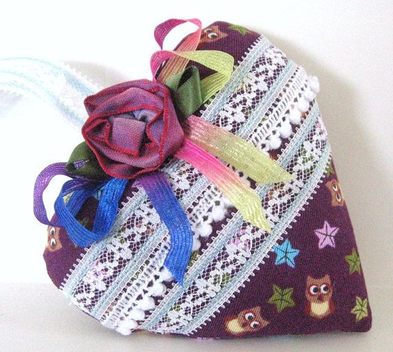 Sachet Heart PURPLE with OWLS Fabric with ♥ by CharlotteStyle
