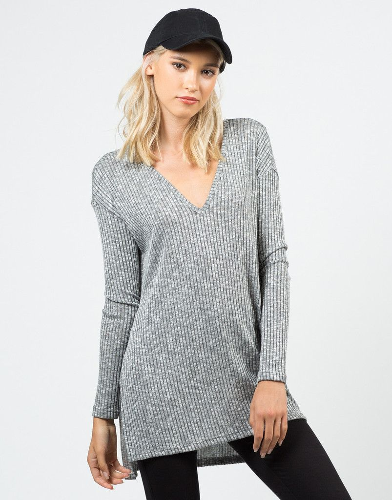 3e5b96d56 Ribbed Tunic Top - Gray Top - Long Sleeve Top - Womens Tops – Tops – 2020AVE