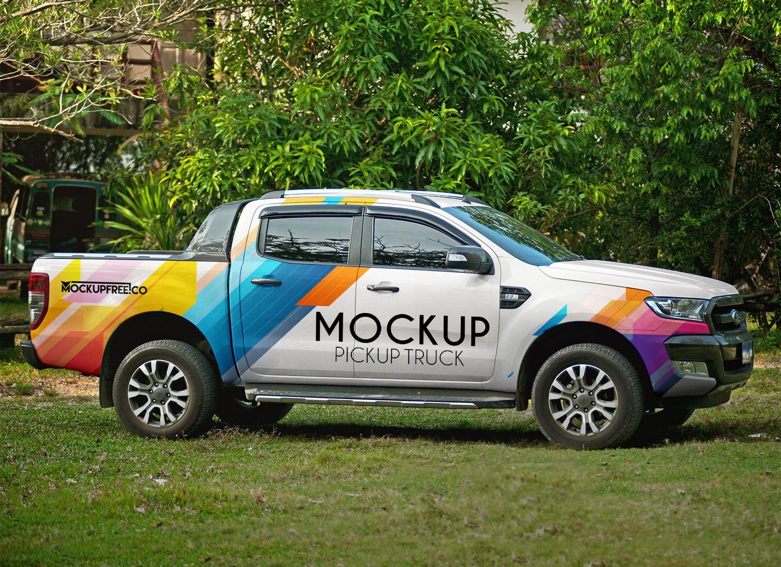 Download Free Vehicle Branding Pickup Truck Mockup Psd Mockup Free Psd Mockup Psd Pickup Trucks PSD Mockup Templates