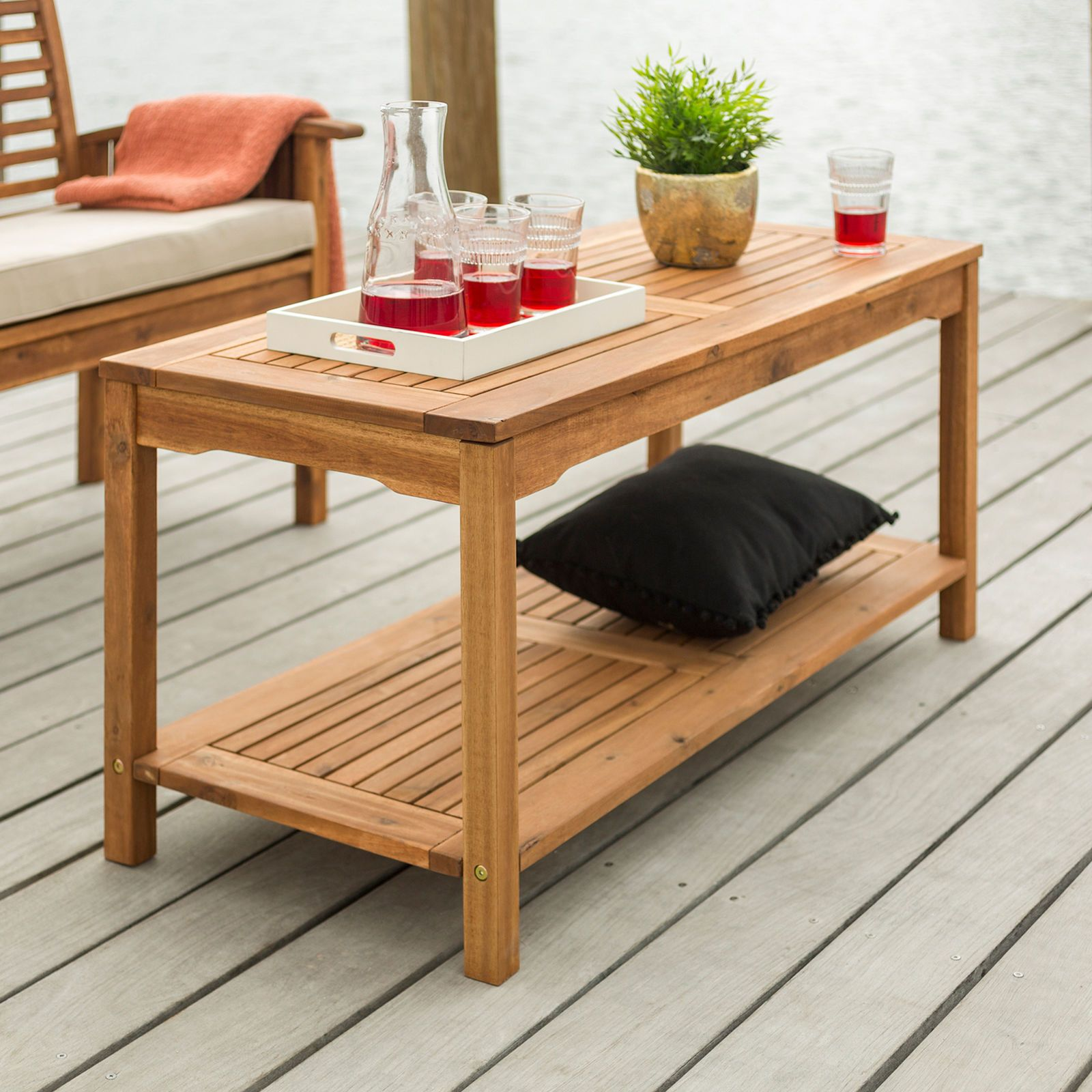 Brown Acacia Wood Patio Coffee Table Outdoor Coffee Tables