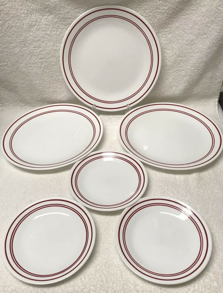 Corelle Classic Cafe Red 3 Dinner 3 Bread Butter Plates 3 Band White Corning Euc Ebay Plates Red Band Pottery
