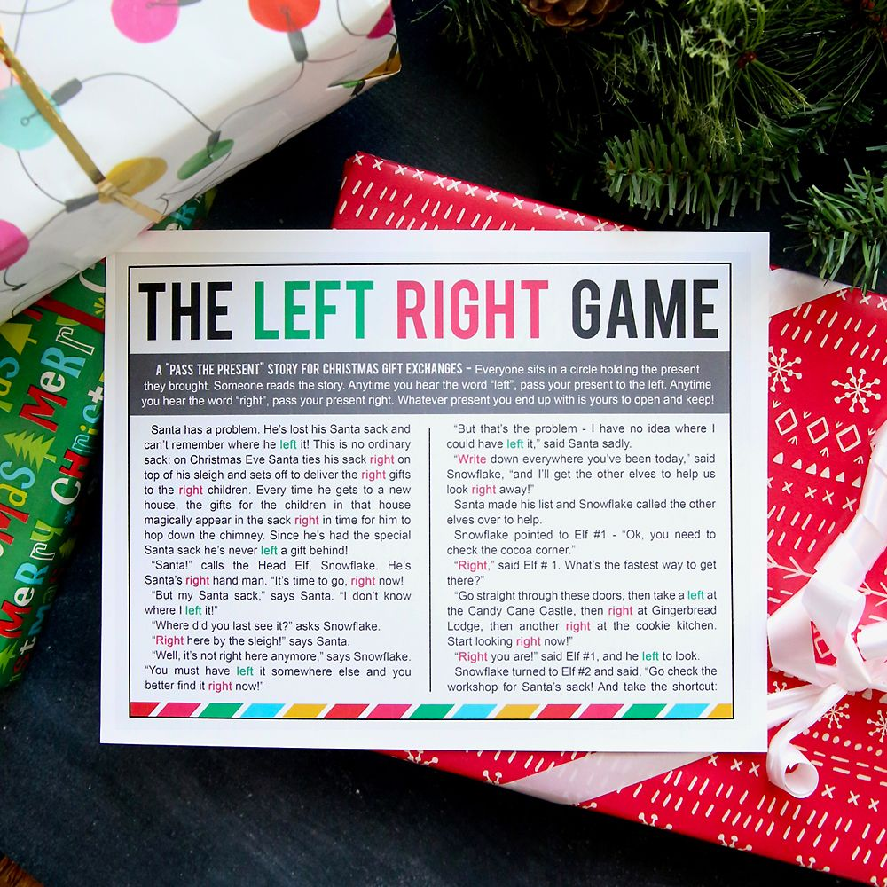 The Christmas Left Right Game W Printable Story