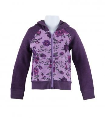 100% cotton reverse French terry hoodie with royal rose print body ...